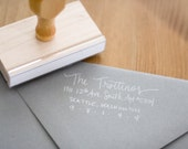 Return Address Wood Handle Rubber Stamp Large VINTAGE Calligraphy Style Handwritten