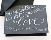 Handwritten Chalk Style Many Waters Cannot Quench Love Valentine's Day Card