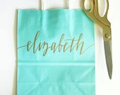 Custom gift bags + Wedding gift bags + Bridal shower gift bag + Turquoise Bachelorette Party bags + Welcome Bags Handwritten