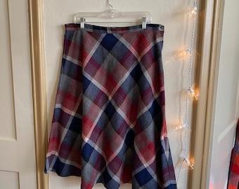 High Waisted Chevron Woven Midi Maxi Skirt Long Full Skirt Pastel Size 6 S 80s Vintage PINK WOOL ASYMMETRICAL Circle Skirt by Gregge Sport