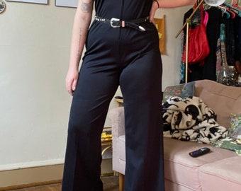 80s Wide Leg Fancy Jumpsuit Vintage Black Glitter Jumpsuit Womens Size Large