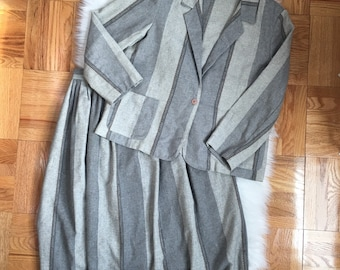 02a750421de Vintage 1960 s 60s Wool Striped Secretary Suit Blazer Skirt Set Office  Career Wear Size 14 SEE MEASUREMENTS Matching Coordinates Gray
