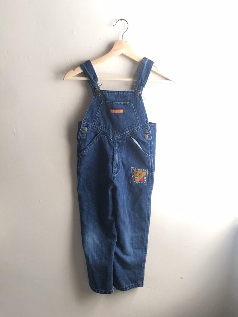 Vintage VTG 1990/'s 90/'s The Lion King 100/% Cotton Patched Denim Overalls Kids Unisex  Boys Size 6 Simba
