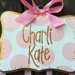 Bow Holder --- Gold and Pink SIMPLICITY Design -  Handpainted and Personalized Hair Bow Holder