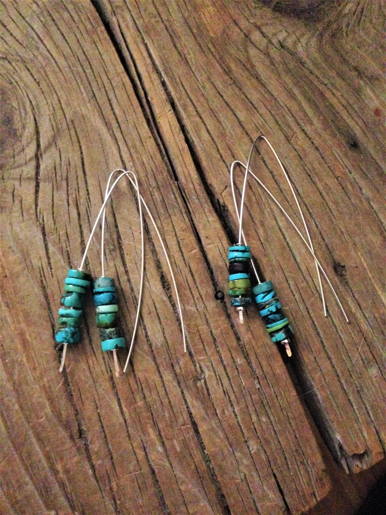 Long and Light * Curved Earth Sterling Turquoise Drop Earrings Sundance Artist
