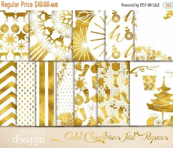 70% OFF Sale Digital paper, Christmas Gold Foil Paper, Digital Scrapbook paper pack - Instant download - 12 Digital Papers - Gold Foil