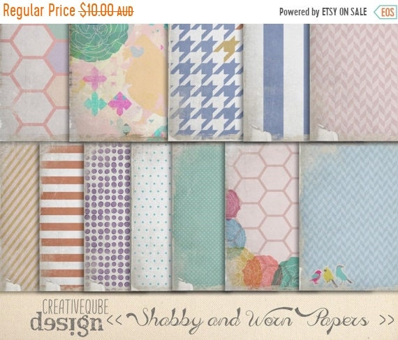 "70% OFF Sale Digital Paper Pack - Shabby and worn - 12"" x 12"" for Background, Scrapbooking, Instant Download"