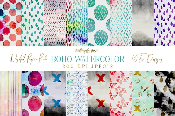 Digital paper, Boho Watercolor Patterns - 16 digital pattern backgrounds, Planner Printable