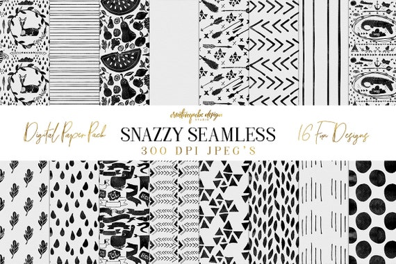 Digital paper Seamless Seamless Snazzy Patterns - PNG, Photoshop PAT and Watercolor Papers, Planner Printable