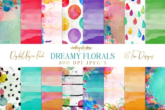Dreamy Floral Watercolor Digital Paper Pack Patterns - 16 digital painted backgrounds, Planner Printable