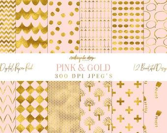 SALE Digital paper - - Pink and Gold Paper, Digital Scrapbook, Instant download, 12 Digital Papers, Gold Foil, Planner Printable