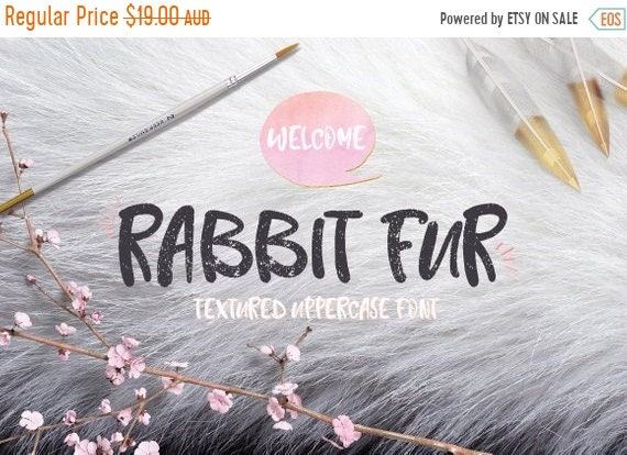 70% OFF Sale Digital Font Rabbit Fur - Digital Typeface - Hand drawn font - Instant Download