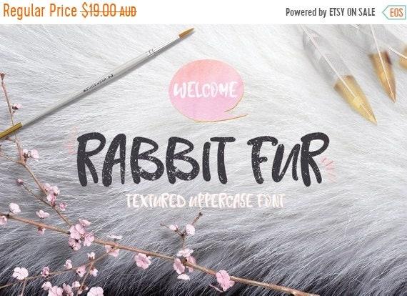 70% OFF Sale Digital Font Rabbit Fur - Digital Typeface - Hand drawn font - Instant Download