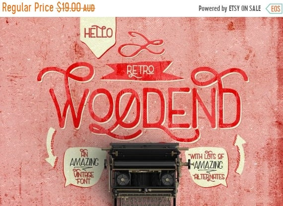 70% OFF Sale Digital Font Woodend - Digital Typeface - Retro font - Instant Download - with swashes and alternates