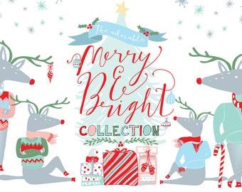 Christmas Clipart, Digital Clip Art, Holiday Clipart, PNG, Vectors - Christmas tree, reindeer, Snowflakes, Deer, Presents, gift