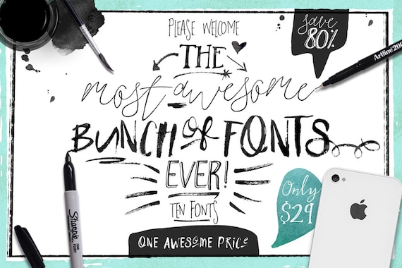 80% OFF Sale, Big Bunch of Fonts - hand drawn digital typeface bundle for typography - Brush, script, display