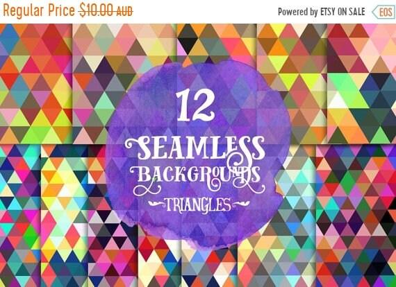70% OFF Sale Digital paper, - Seamless Bold Triangles Paper, Digital Scrapbook paper pack, Instant download, 12 Digital Papers