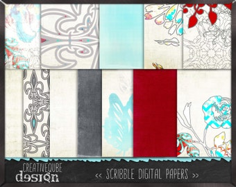 Digital paper, Digital Scrapbook paper pack - Instant download - 12 Digital Papers - Mint and red