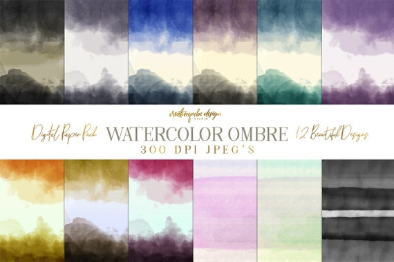 12 Watercolor Ombre Digital Backgrounds, Planner Printable