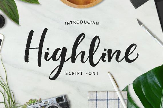 Digital Font Highline Script Font, Brush Wedding Font, Calligraphy, Signature Typeface, Hand Written font
