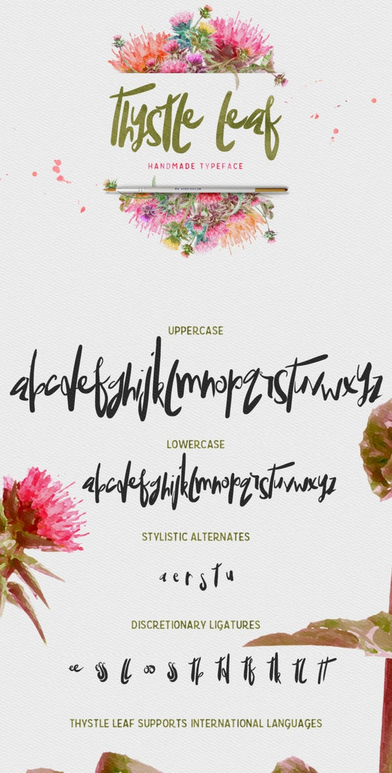 Thystle Leaf Typeface - Display Font - Handmade semi script with irregular baseline