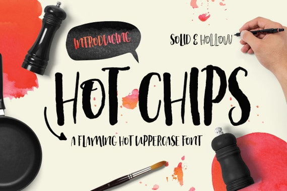 Digital Font Hot Chips - Digital Typeface - Hand drawn all caps font - Instant Download