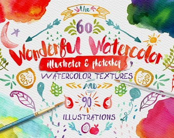Wonderful Watercolor Textures Digital Graphic Design Kit - Hand Painted Textures and Illustrations for Adobe Photoshop