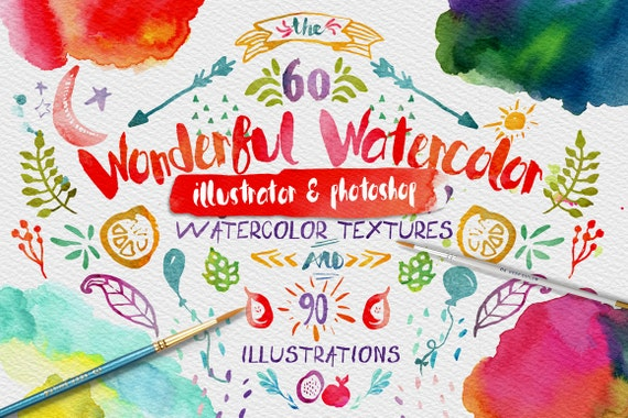 Wonderful Watercolor Digital Graphic Design Kit - Hand Painted Textures and Illustrations, Stickers, Planner Printable