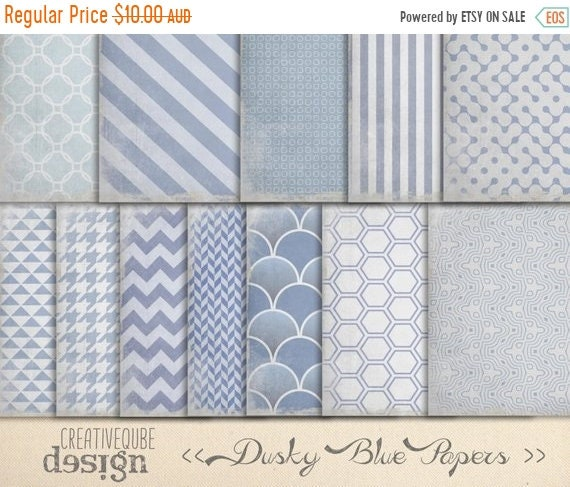 70% OFF Sale Digital Paper Pack - Digital Scrapbook Papers - Worn Dusty Blue textured, shabby chic.