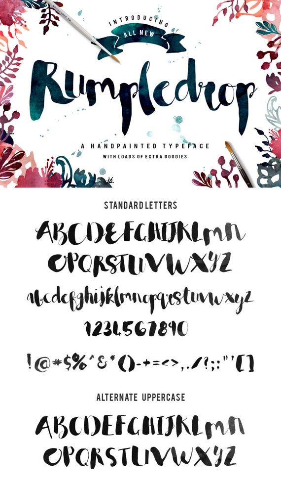Rumpledrop brush script Typeface - Handpainted - Plus BONUS Watercolor Textures, Glitter, Foil, illustrations