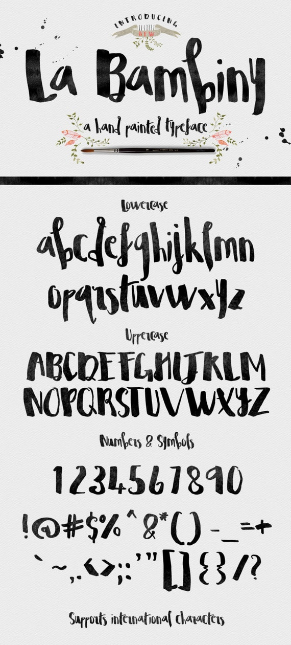 La Bambiny Typeface Font - Display Font - Hand Painted - plus extra design elements