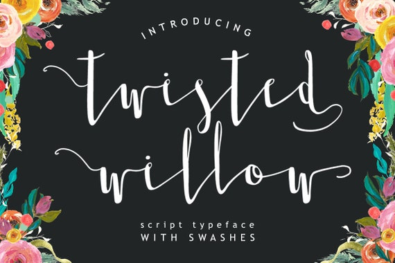 Twisted Willow Type font - Script typeface with swashes and stylistic alternates