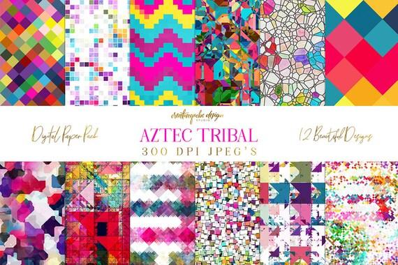 Digital Paper - Aztec Tribal, Triangular Backgrounds, Digital Scrapbook Paper, Geometric Clip Art, Graphics, Planner Printable