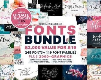 99% OFF Font Bundle, Watercolor Clip Art, Digital Fonts, Wedding, Calligraphy Fonts, Digital Paper, Modern Handwriting Script, Sticker