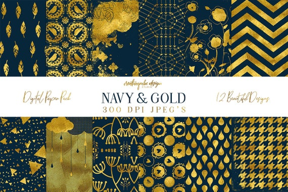 Digital paper, Digital Navy Gold Paper, Digital Scrapbook paper pack - Instant download - 12 Digital Papers - Gold Foil, Planner Printable