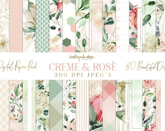 SALE Digital Paper, Floral Pack, Patterns - 16 backgrounds, Rose and Creme, Watercolor Flowers, Frames, Stripe, Planner Printable