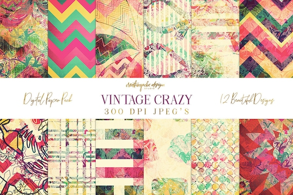 Digital paper, Digital Scrapbook paper pack - Instant download - 12 Digital Papers - Crazy vintage, Planner Printable
