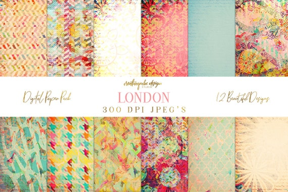 Digital paper, Digital Scrapbook paper pack - Instant download - 12 Digital Papers - London, Planner Printable