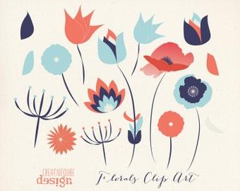 SALE Flower Clipart Digital Clip Art, Vectors - Flowers, leaves
