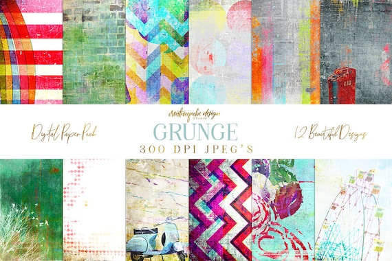 Digital paper, Digital Scrapbook paper pack - Instant download - 12 Digital Papers - Grunge textured, Planner Printable