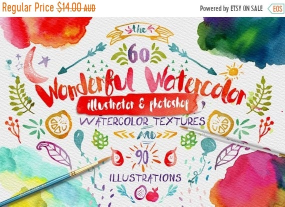 70% OFF Sale Wonderful Watercolor Textures Digital Graphic Design Kit - Hand Painted Textures and Illustrations for Adobe Photoshop