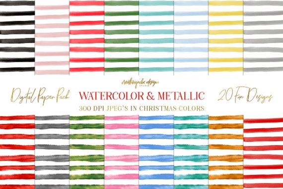 Digital paper, Watercolor & Metallic Stripes - 16 digital pattern backgrounds, Planner Printable