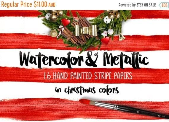 70% OFF Sale Digital paper, Watercolor & Metallic Stripes - 16 digital pattern backgrounds