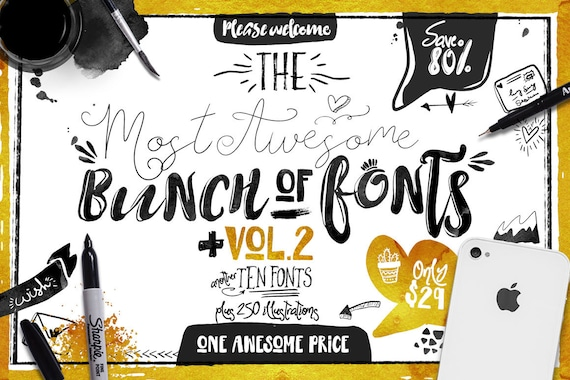 80% OFF Sale, Big Bunch of Fonts Vol 2, hand drawn digital typeface bundle for typography, Brush, script, display