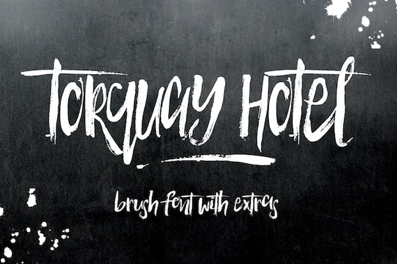 Torquay Hotel Brush Font - Display Font - Hand Painted - plus extras