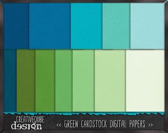 Digital paper, Digital Scrapbook paper pack - Instant download - 12 Digital Papers - blue green cardstock