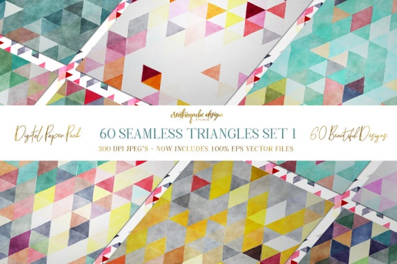 Digital paper Seamless Backgrounds - 60 Watercolor Triangles - Now with EPS Vector Files included, Planner Printable