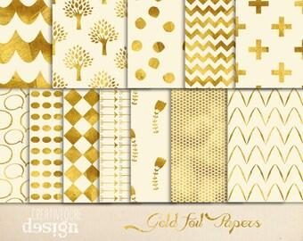 Digital paper, Digital Gold Paper, Digital Scrapbook paper pack - Instant download - 12 Digital Papers - Gold Foil