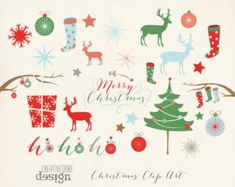 Christmas Clipart, Digital Clip Art, Digital download, Holiday Vectors, Christmas tree, reindeer, Stocking, Snowflakes, Deer, Presents, gift