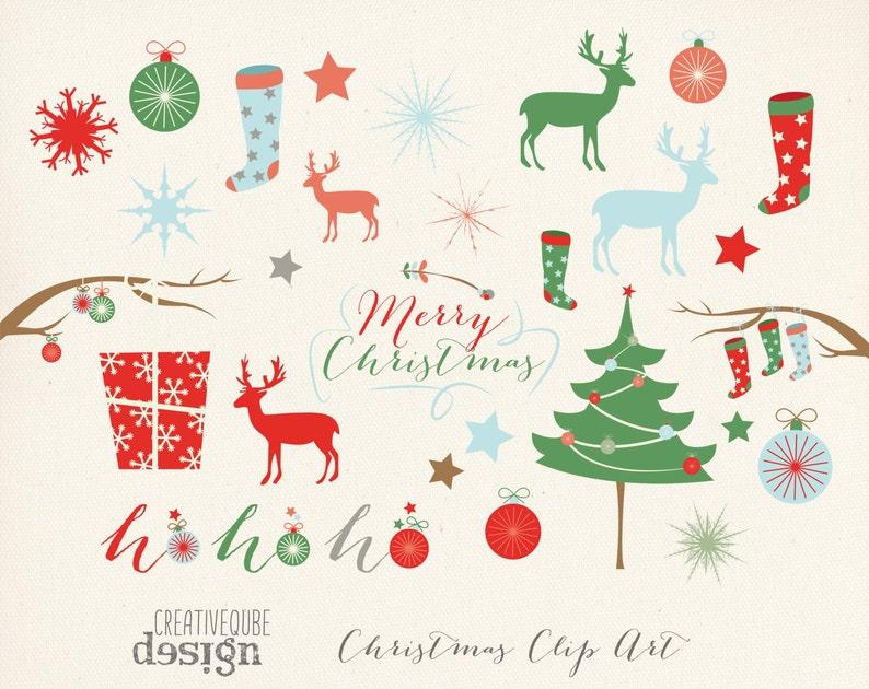 Deer Digital Clip Art reindeer Digital download Stocking gift Presents Christmas tree Christmas Clipart Holiday Vectors Snowflakes